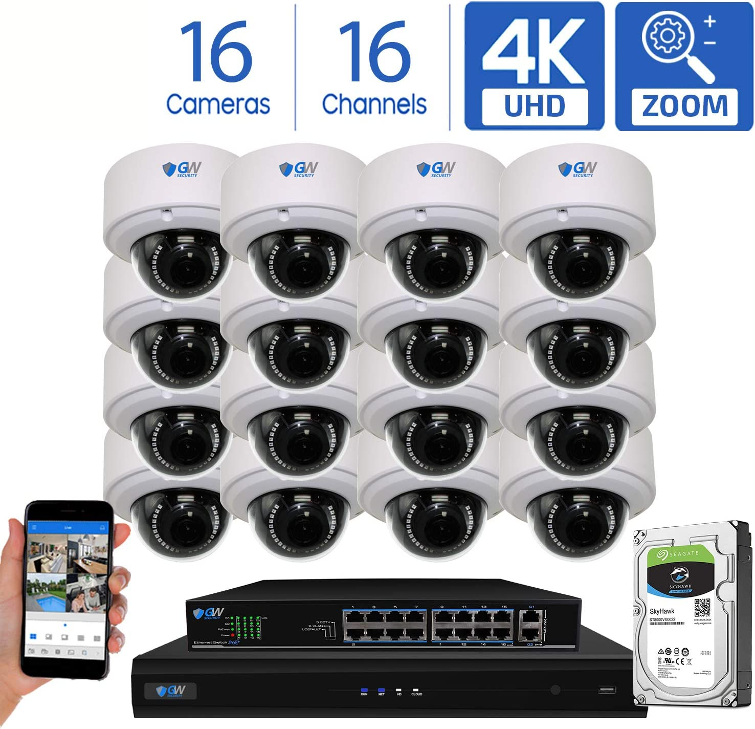 GW Security AutoFocus 4K 8MP IP Camera System, 16 Channel H.265 4K NVR, 16 x 8MP UltraHD 3840×2160 Dome POE Security Camera 4X Optical Motorized Zoom Outdoor Indoor