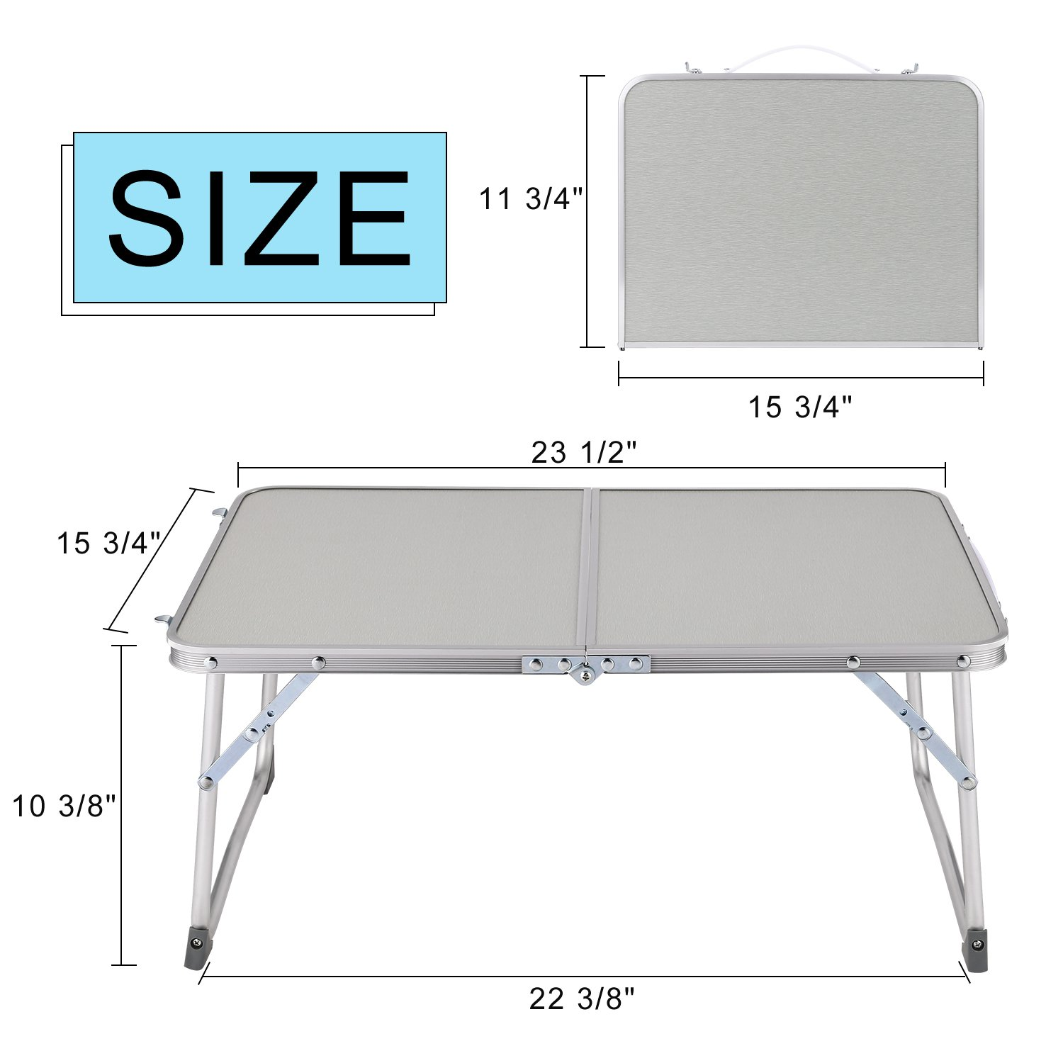 Hindom Aluminum Portable Folding Utility Table with Carrying Handle Portable Patio Table for Garden Party Camping Picnic(US Stock) (Gray) by Hindom (Image #6)
