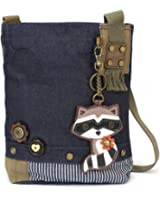 Chala Patch Cross-Body Women Handbag, Blue Denim Canvas Messenger Bag