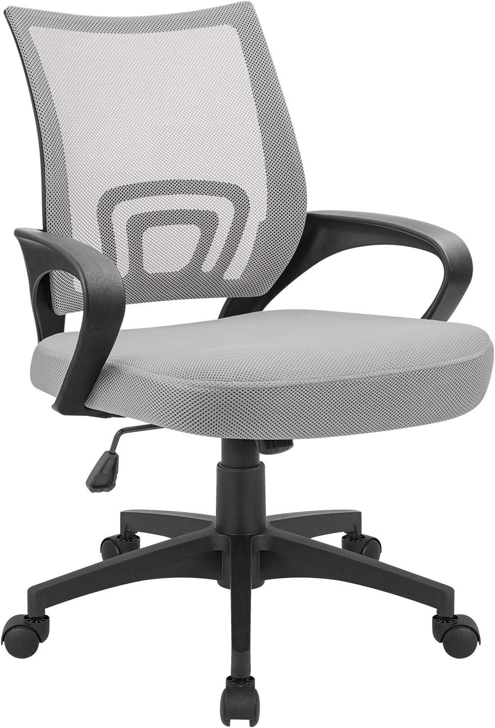 Devoko Office Chair Ergonomic Mid Back Swivel Mesh Chair Height Adjustable Lumbar Support Computer Desk Chair with Armrest (Grey)