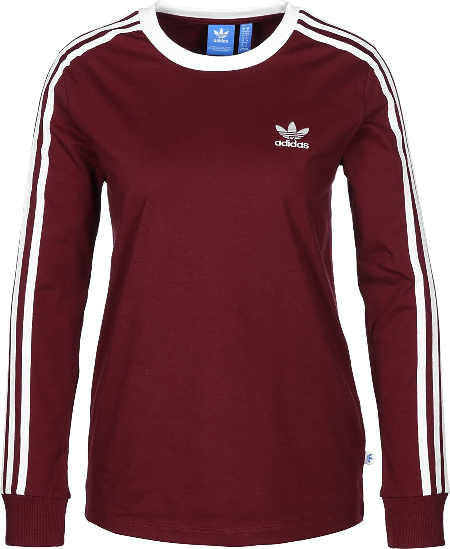 adidas 3Stripes LS Tee Shirt, Damen, Rot (buruni):
