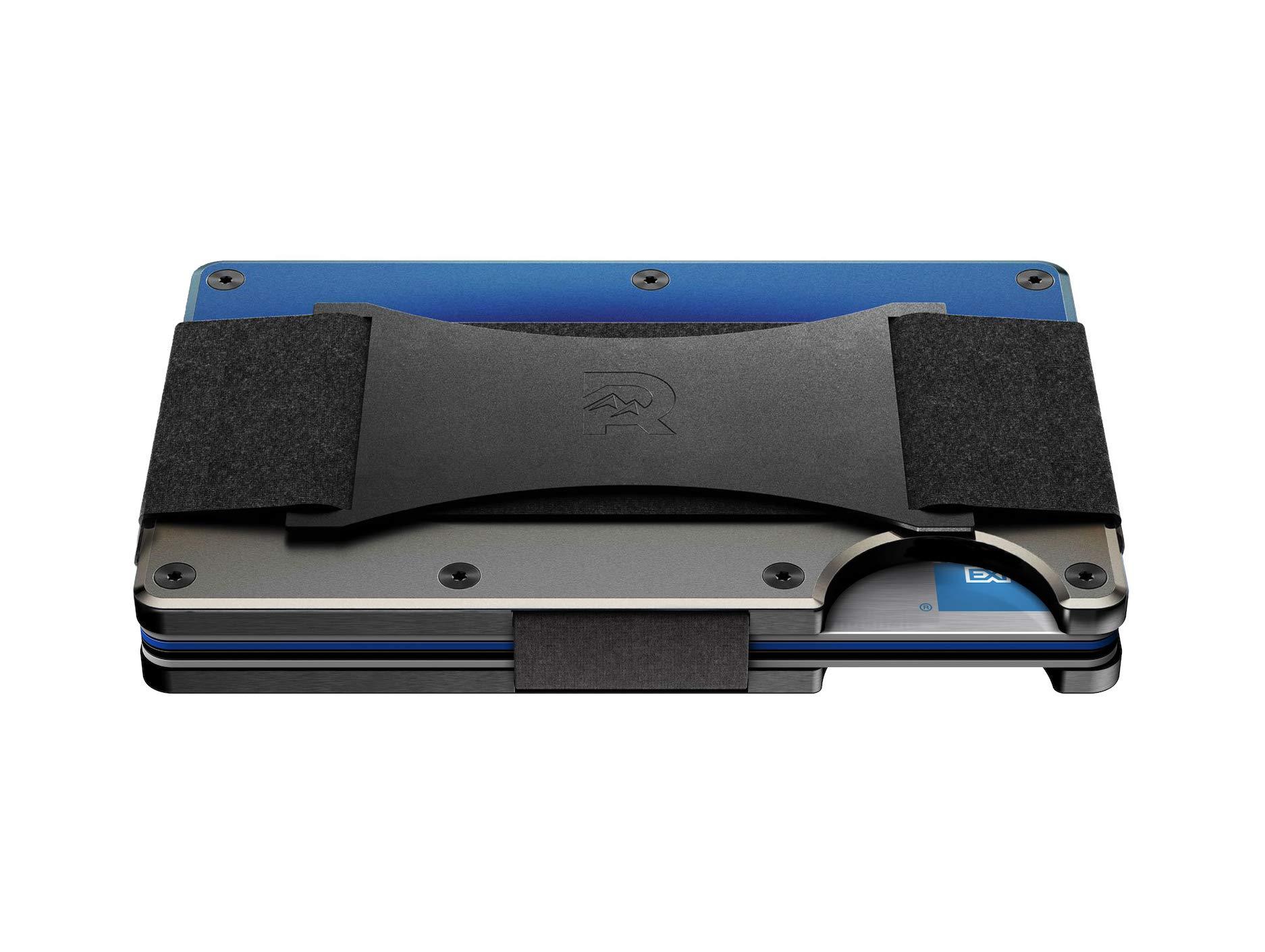 The Ridge Wallet Authentic Minimalist Titanium Metal RFID Blocking Wallet - Burnt Titanium Cash Strap | Wallet for Men | RFID Minimalist Wallet, Slim Wallet