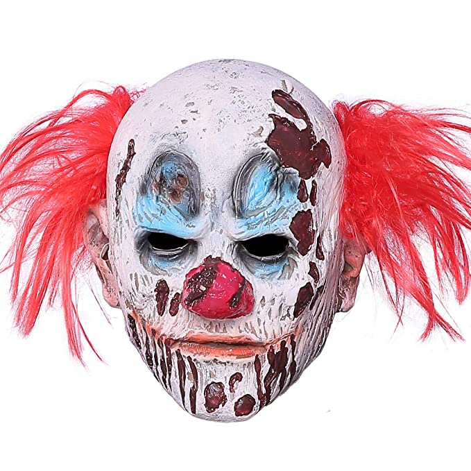 cafd74413 Amazon.com: Halloween Clown Mask Full Head Latex Scary Clown Mask with Hair  Mask for Halloween Cosplay (Clown Mask): Clothing