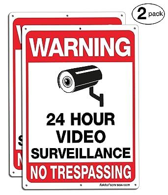 Amazon.com: Faittoo - Lote de 2 señales de vigilancia de ...