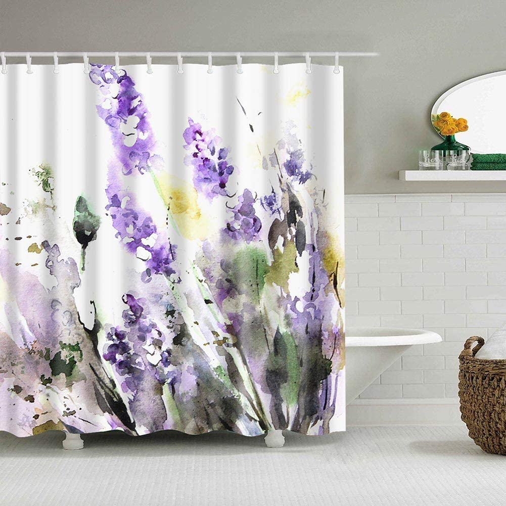 Boyouth Watercolors Lavender Pattern Digital Print Shower Curtains for Bathroom Decor,Polyester Waterproof Fabric Bath Curtain with 12 Hooks,70x70-Inch,Multicolor