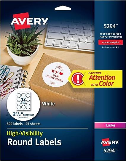 "90 // Pack 2.50/"" Diameter 9//sheet Circle Avery Promotional Label"