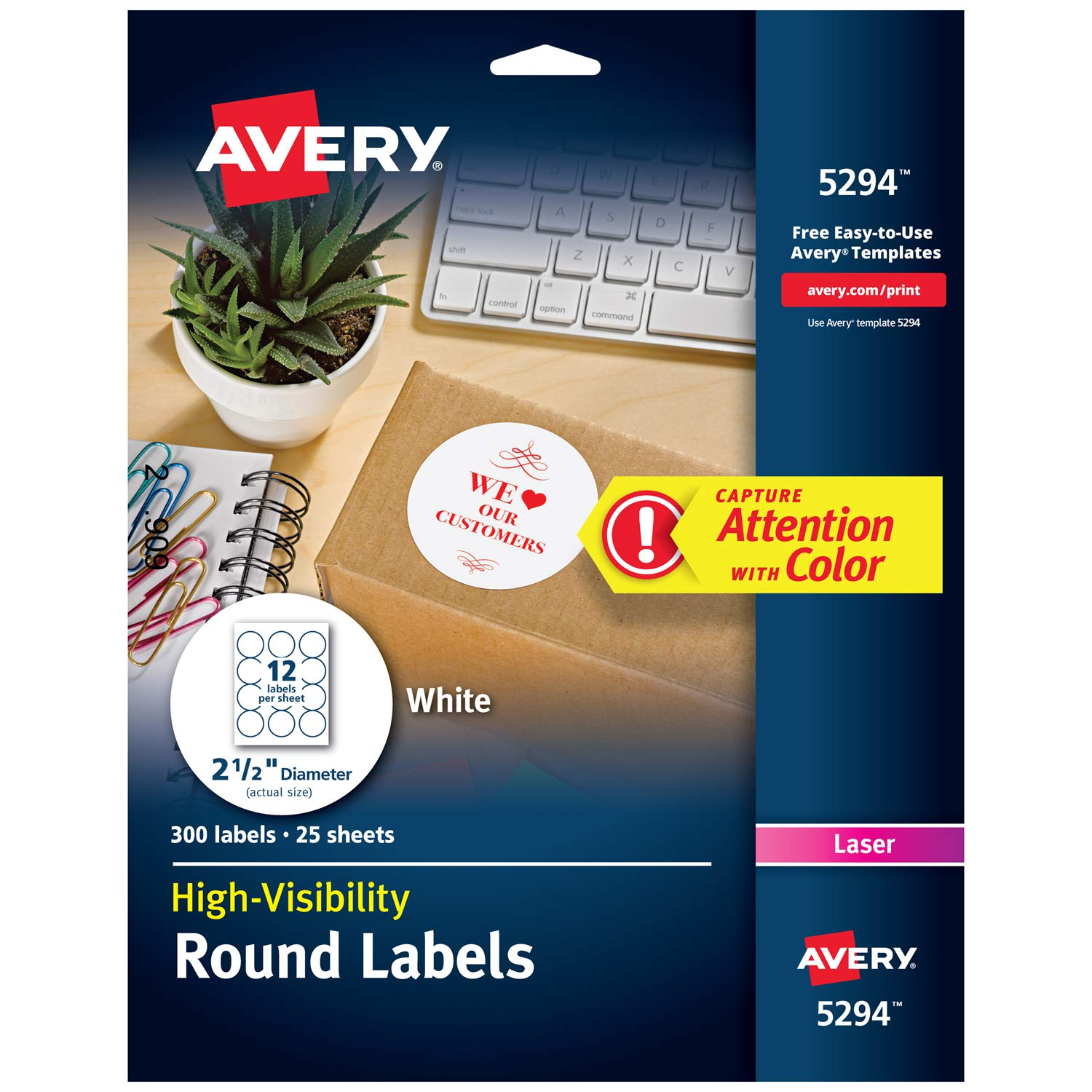 Avery Print-to-the Edge High-Visibility 2.5'' Round Labels, 300 Pack (5294), White