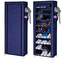 Keekos Shoe Racks for Home 6 Tiers Multi-Purpose Shoe Storage Organizer Cabinet Tower with Iron and Nonwoven Fabric with Zippered Dustproof Cover (Shoe Racks for Home)_Navyblue