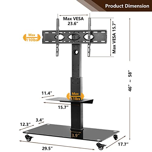 TAVR Tall Rolling Moblile Floor TV Stand Cart with Mount Lockable Caster Wheels and Audio Shelf for 37 40 42 47 50 55 60 65 70 inch LCD LED OLED QLED Flat Panel and Curved TVs,TF5001
