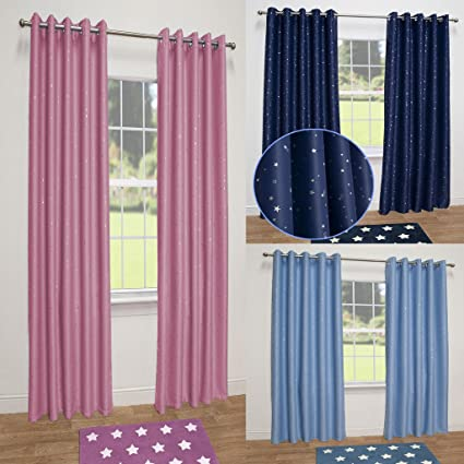 13d0eac52b3b Stars Thermal Blackout Ready Made Eyelet Curtains (Pink, 66