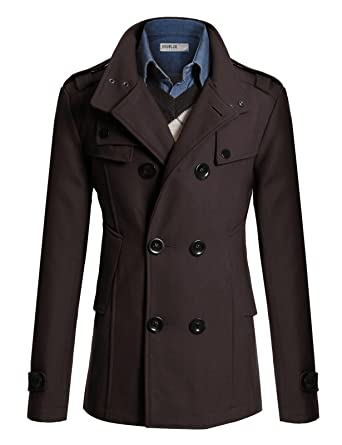 Doublju Mens Wool Slim Double Breasted Half Trench Coat at Amazon ...