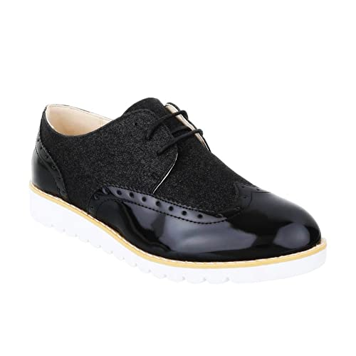 King Of Shoes Damen Halbschuhe Brogues Schnürer Dandy Lack