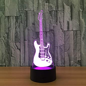 WZYMNYD Guitarra 3D Holograma Light Colorful Remote Touch Producto ...
