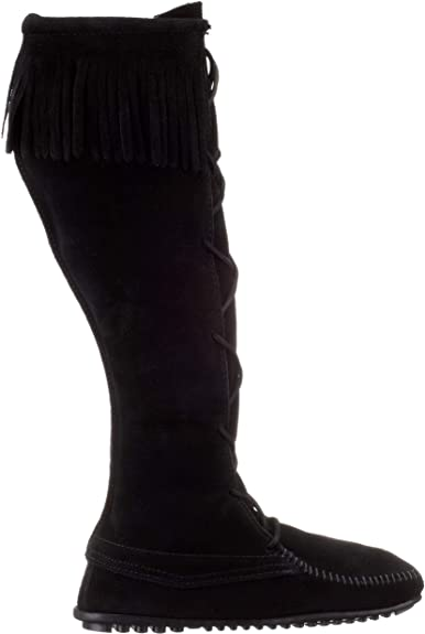 Details about  /Womens Tassel Moccasin Knee High Boots Pull On Flat Heels Roman Faux Suede Shoes