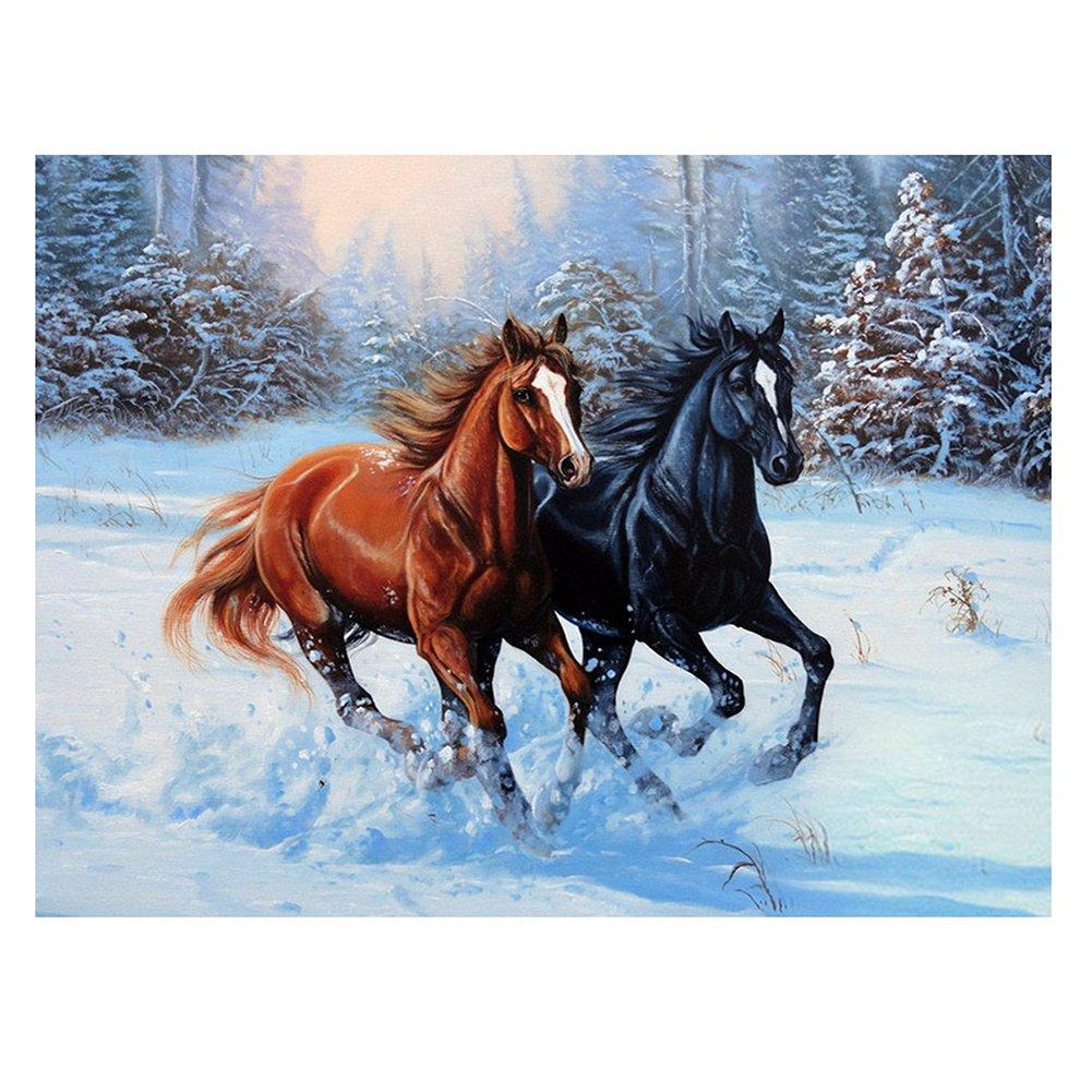 WinnerEco Horses 5D Full Diamond Painting Embroidery DIY Craft Needlework Home Decor Diamond Painting by Number Kit E