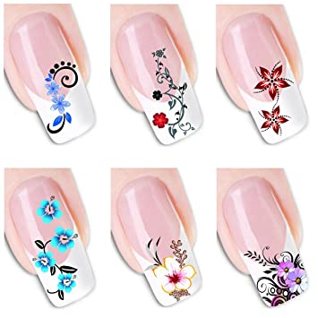 Amazon 6pcs Different Designs Nail Art Decoration Sticker Color