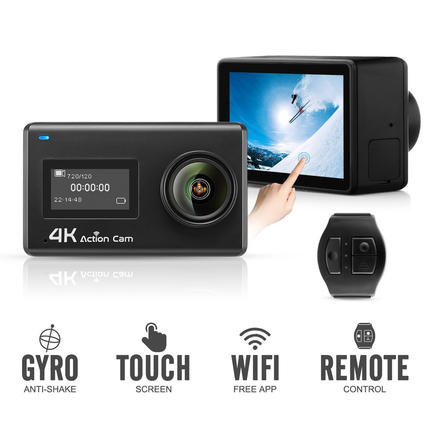 Midonkey i7 Action Camera 4K WiFi Ultra HD Waterproof Sport Camera 2 Inch LCD Screen 12MP 170 Degree Wide Angle 2 Rechargeable 1050mAh Batteries Free Travel Bag Include 19 Accessories Kits