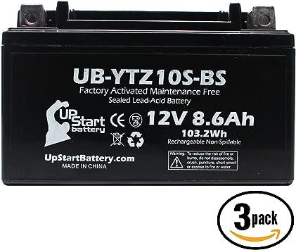 YTZ10S-BS Battery Replacement 2007 Honda CBR1000RR Factory Activated Maintenance Free Battery Compatible with 8.6Ah, 12v, Sealed 2006 Honda CBR1000RR 2015 Yamaha FZ-07 2015 Yamaha FJ-09