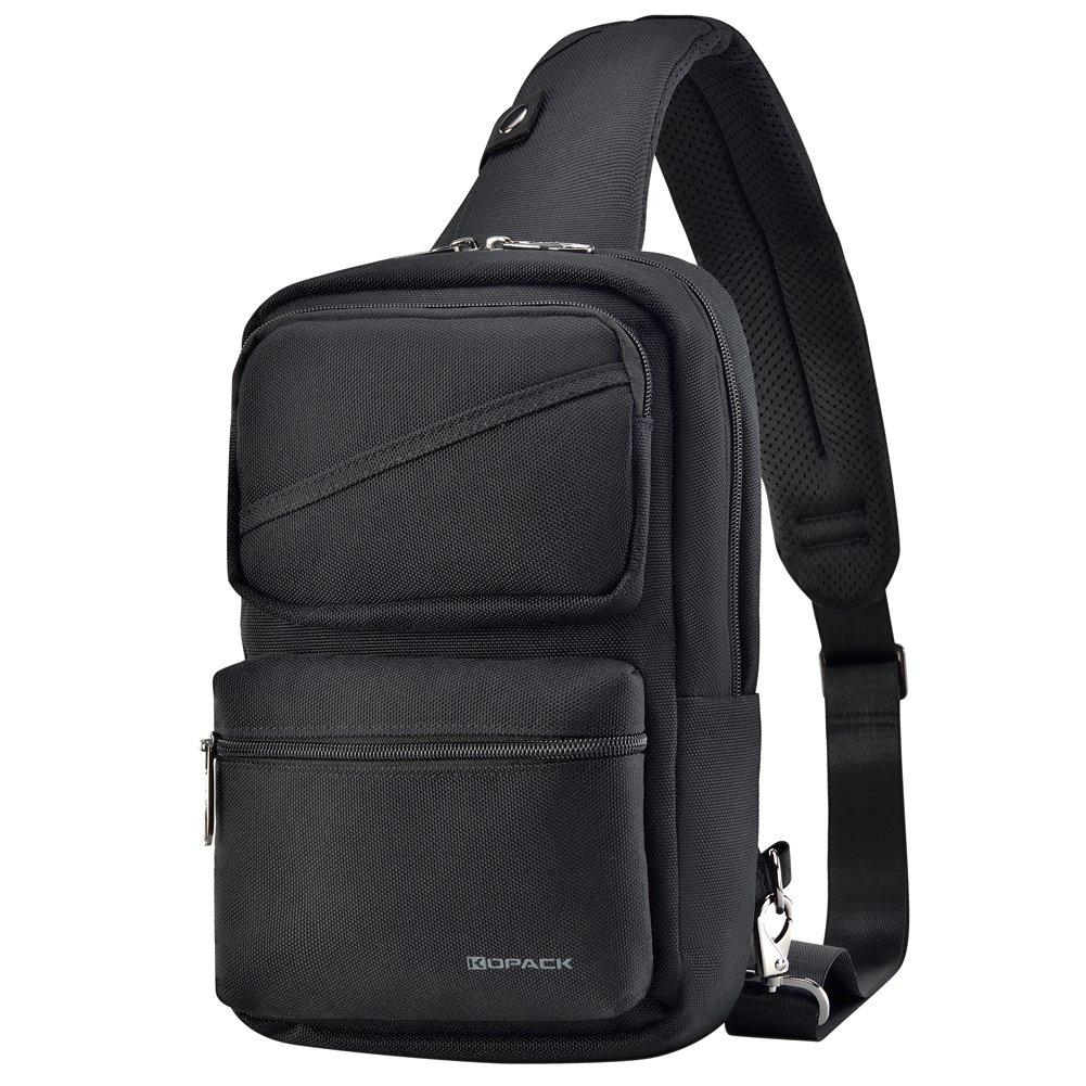 Kopack Sling Backpack Crossbody Pack Bag One Strap Large Anti-theft Pocket Padded Water Resistant Chest Bag Men Black