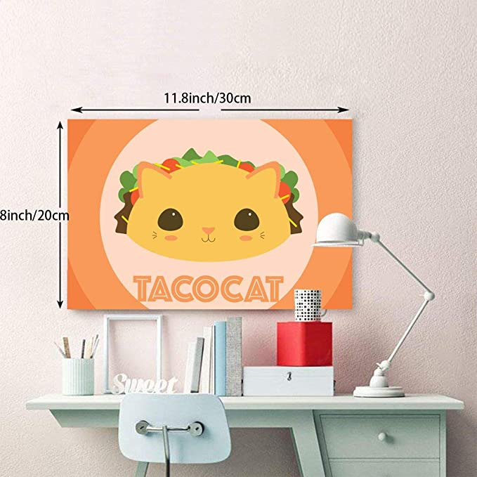 Amazon.com: LQZ-PAINT Taco Cat Hamburg Canvas Painting Home Decor Frameless Easy Hangfor Home Decorations Wall Decor12x8inch: Posters & Prints