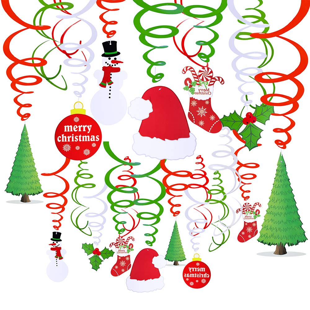 30 Pcs Christmas Hanging Swirl Decorations Party Swirls Foil Hanging Ceiling Décor Swirl Streamers with Cutouts of Christmas Trees Hats Snowmen Stockings Holly Leaves Merry Christmas Cards for Holiday Party Supplies Photo Booth Backdrop by Windiy