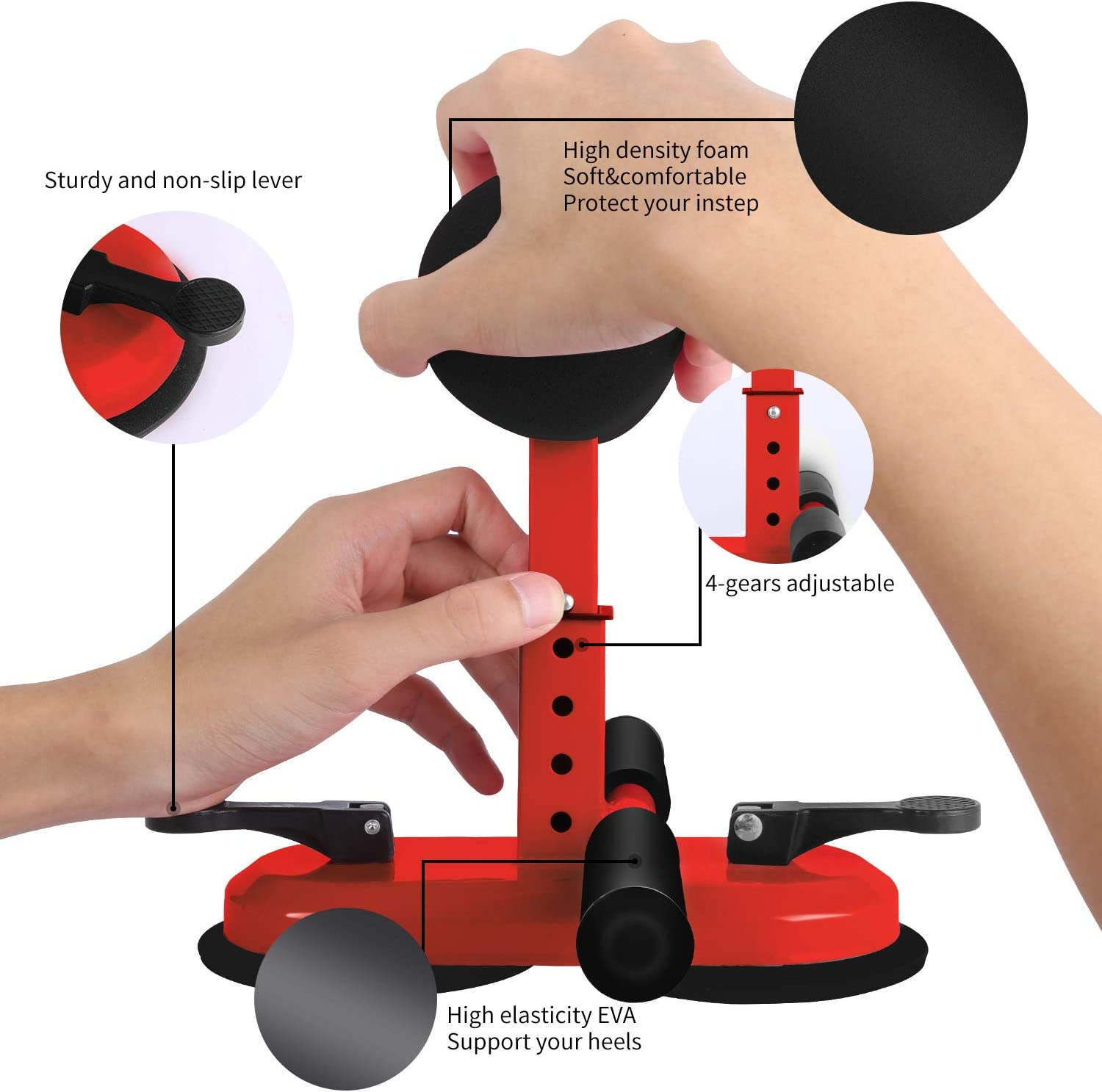 Portable Multi-Function Self-Suction Training Equipment for Home Travel or Work Sit Up Assistant Device Adjustable Sit-Up Equipment Bar with 2 Suction Cups