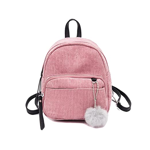JIANBAO Girls Mini Striped Flannel Backpacks with Fuzzy Ball Kids Cute  Travel Purses School Book Bags 7a7cfebaa8f9f