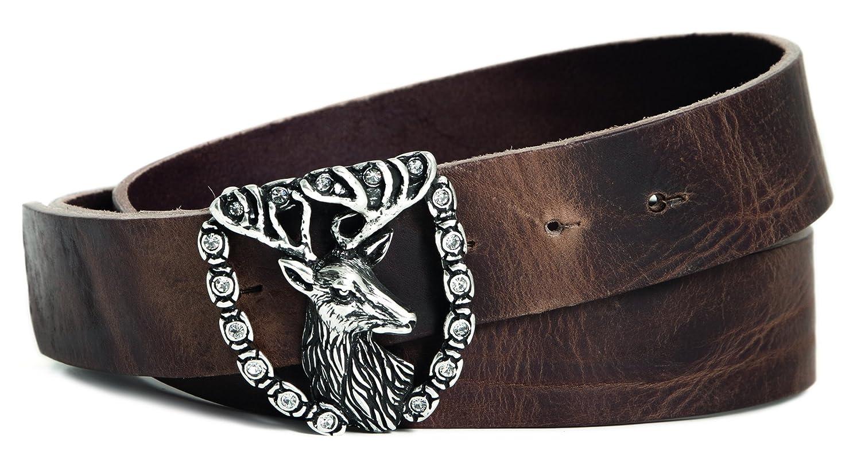 Hirsch-Motiv mit Strass Trachtenledergürtel Vollrindledergürtel Walkleder Breite ca 40mm Farbe braun