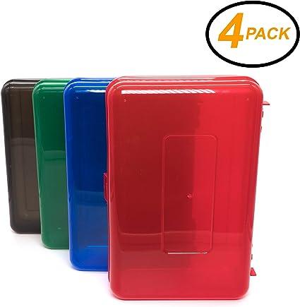 Caja de lápices EmRare, multiusos, multiusos, caja de lápices, estuche de plástico para la escuela, multifunción, caja de lápices pequeño, cajas de plástico duro de larga duración (4 unidades).: Amazon.es: Oficina y