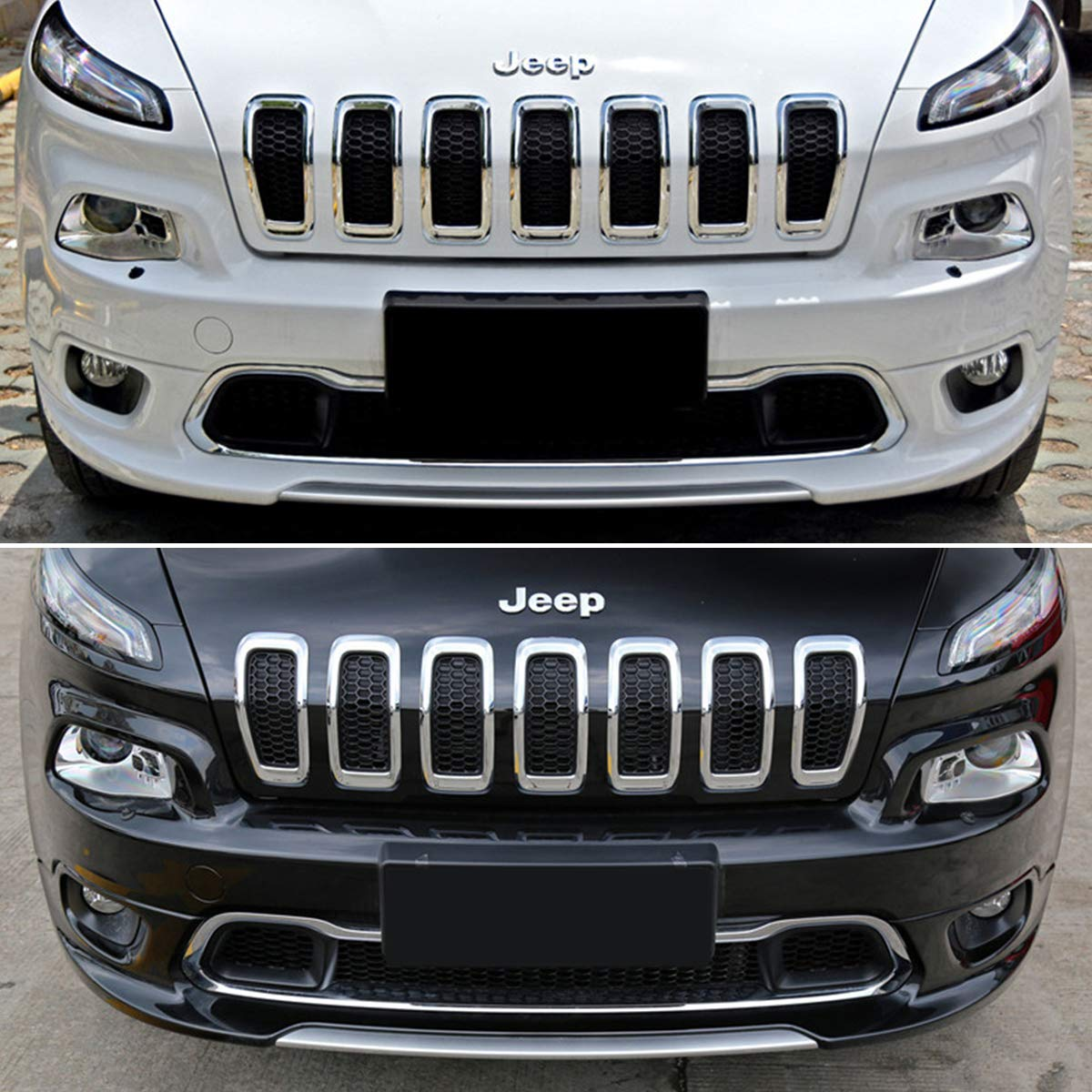 Gray and Black XBEEK 2014-2018 Jeep Cherokee Gloss Front Grille Grill Inserts Covers 7pcs