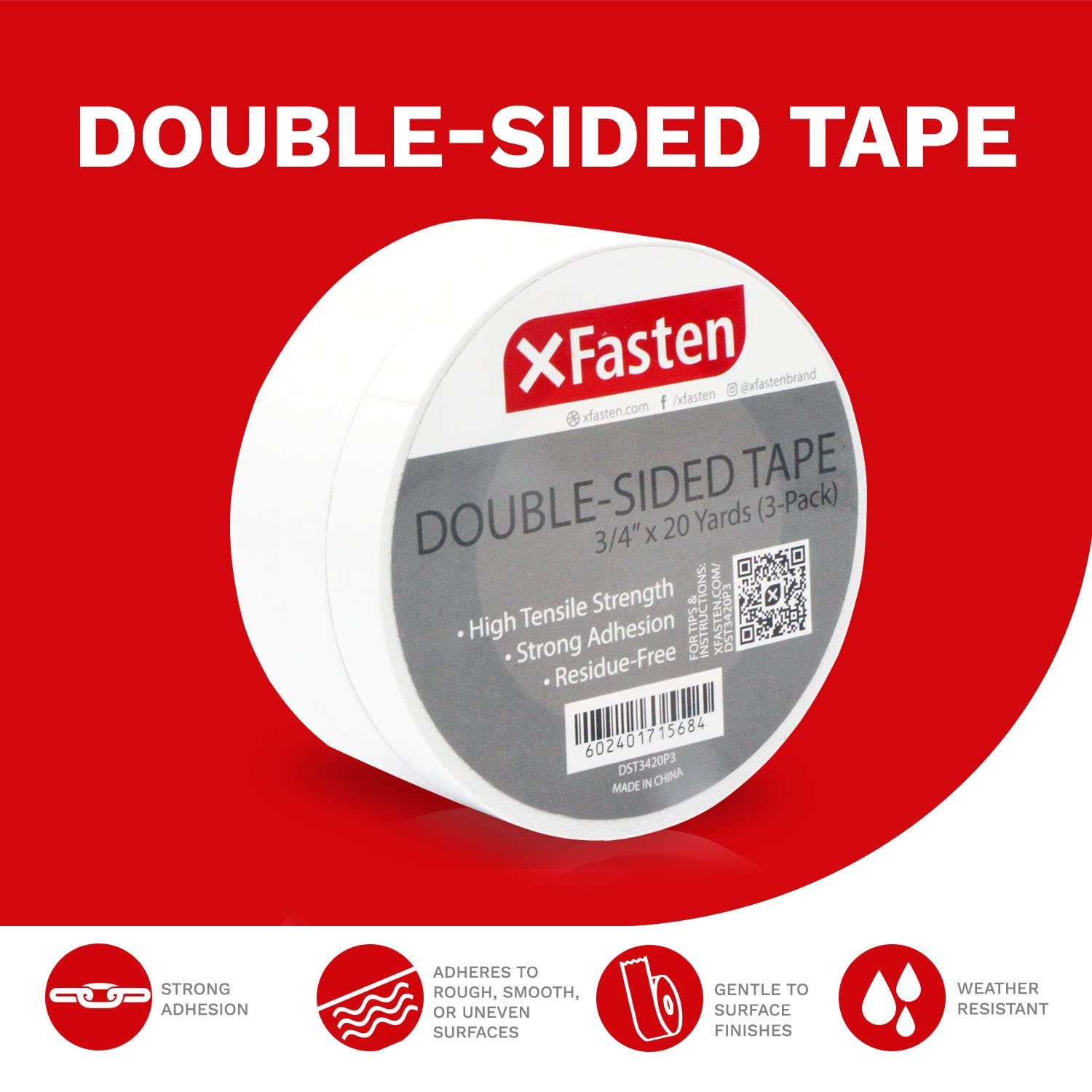 XFasten Double Sided Tape, Removable, 3/4-Inch by 20-Yards, Pack of 3 by XFasten (Image #2)