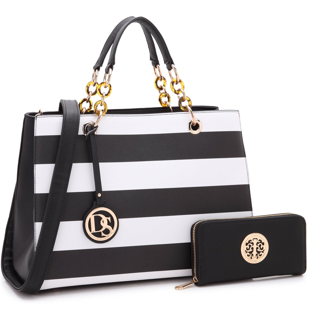 8b92bb3ff8ad22 Amazon.com: Womens Large Top Handle Handbag Structured Tote Bag Designer  Shoulder Bag w/Matching Wallet (1-black stripe wallet set): Shoes