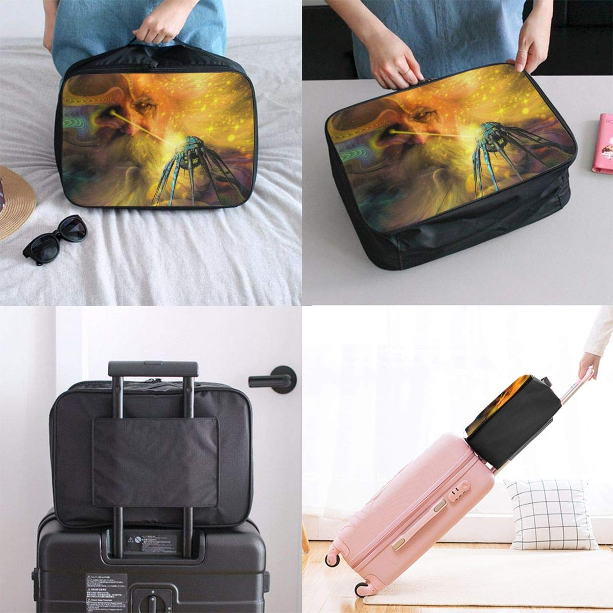 Abstract Decorate Colourful Painting Airship Travel Lightweight Waterproof Foldable Storage Carry Luggage Large Capacity Portable Luggage Bag Duffel Bag
