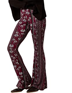 5e5a3793c0364 Amazon.com: SKY AND SPARROW Floral Linear Flare Pants: Clothing