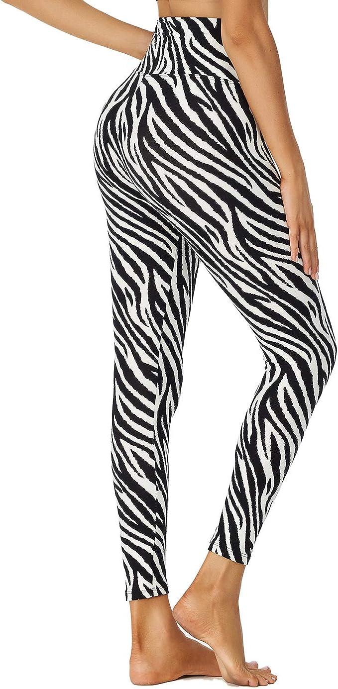 Women's High Waist Classic Zebra Stripe Leggings, Sizes S to XXL