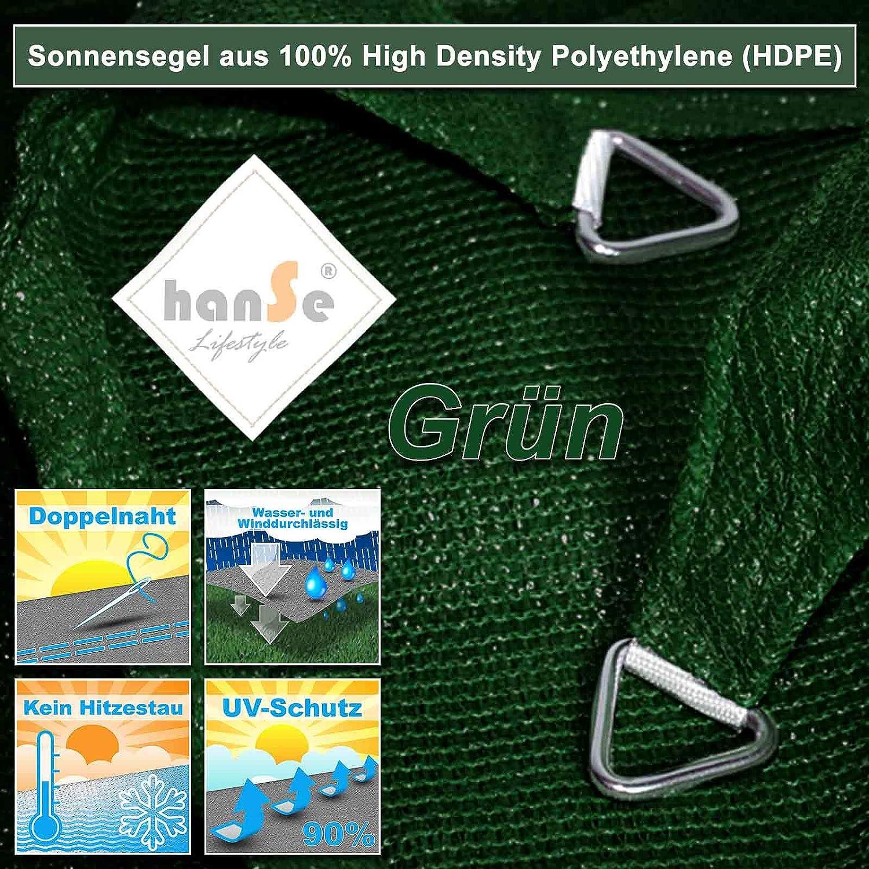 hanSe/® Marken Sonnensegel Sonnenschutz Wetterschutz Wetterbest/ändig HDPE Gewebe UV-Schutz Rechteck 2x3 m Creme