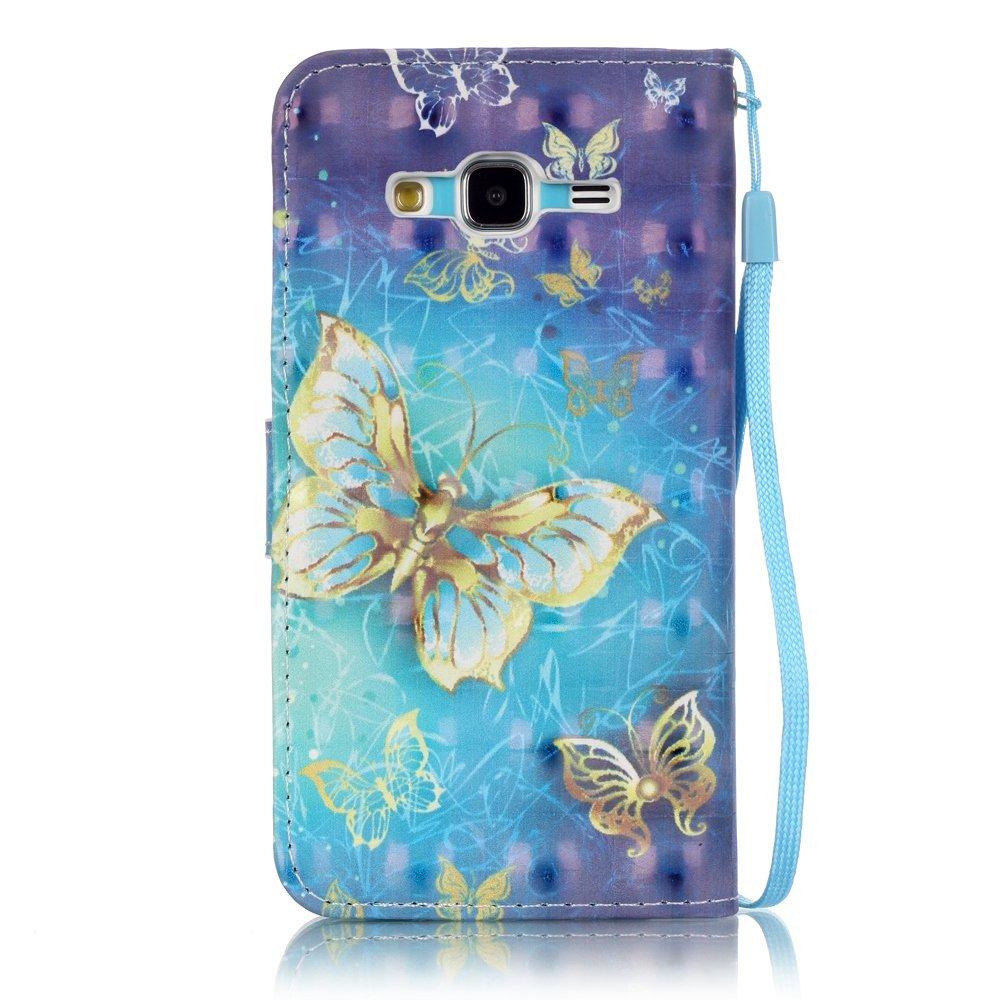 Samsung Galaxy J310 J3 2016 2016 Coque Dragonne Portefeuille PU Cuir Etui,Coffeetreehouse Housse Lanyard Dragonne Portefeuille /étui en cuir PU Cuir Portefeuille Etui Housse Coque Coquille avec Stand et les fentes de ca Etui Samsung Galaxy J310 J3