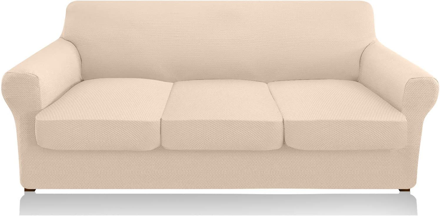 Granbest 4 Piece High Stretch Couch Covers for 3 Cushion Couch Thick Premium Sofa Slipcover Fitted Sofa Cover Furniture Protector for 3 Seat Sofas Dog Pet Proof Machine Washable (Large, Beige)
