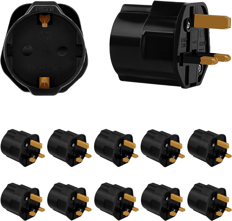negro M/éxico C/ánada Incutex 1x adaptador de viaje UK a US Reino Unido a Estados Unidos 3 pin a 2 pin tipo I tipo A