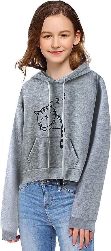 Girls Hoodie Long Sleeve Sweatshirt Baby Blouse Casual Hooded Letter Print Pullover Crop Tops