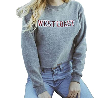 Willie Marlow Autumn Letters Printed Short Sweatshirts Women Gray Hoodies West Coast Cropped Sweatshirts at Amazon Womens Clothing store: