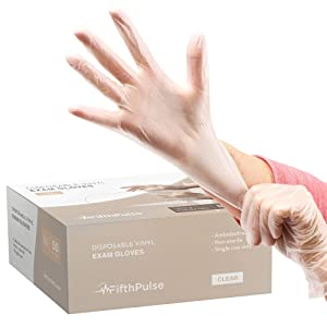 FifthPulse Clear Vinyl Disposable Gloves Medium 50 Pack - Latex Free, Powder Free Medical Exam Gloves - Surgical, Home, Cleaning, and Food Gloves - 3 Mil Thickness