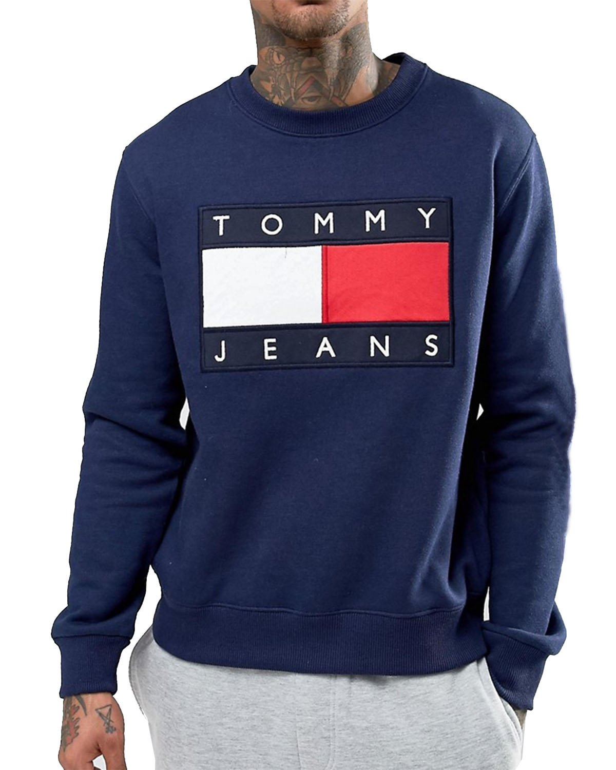 TOMMY HILFIGER Men's Sweatshirt - Blue (Navy), XXL by Tommy Hilfiger