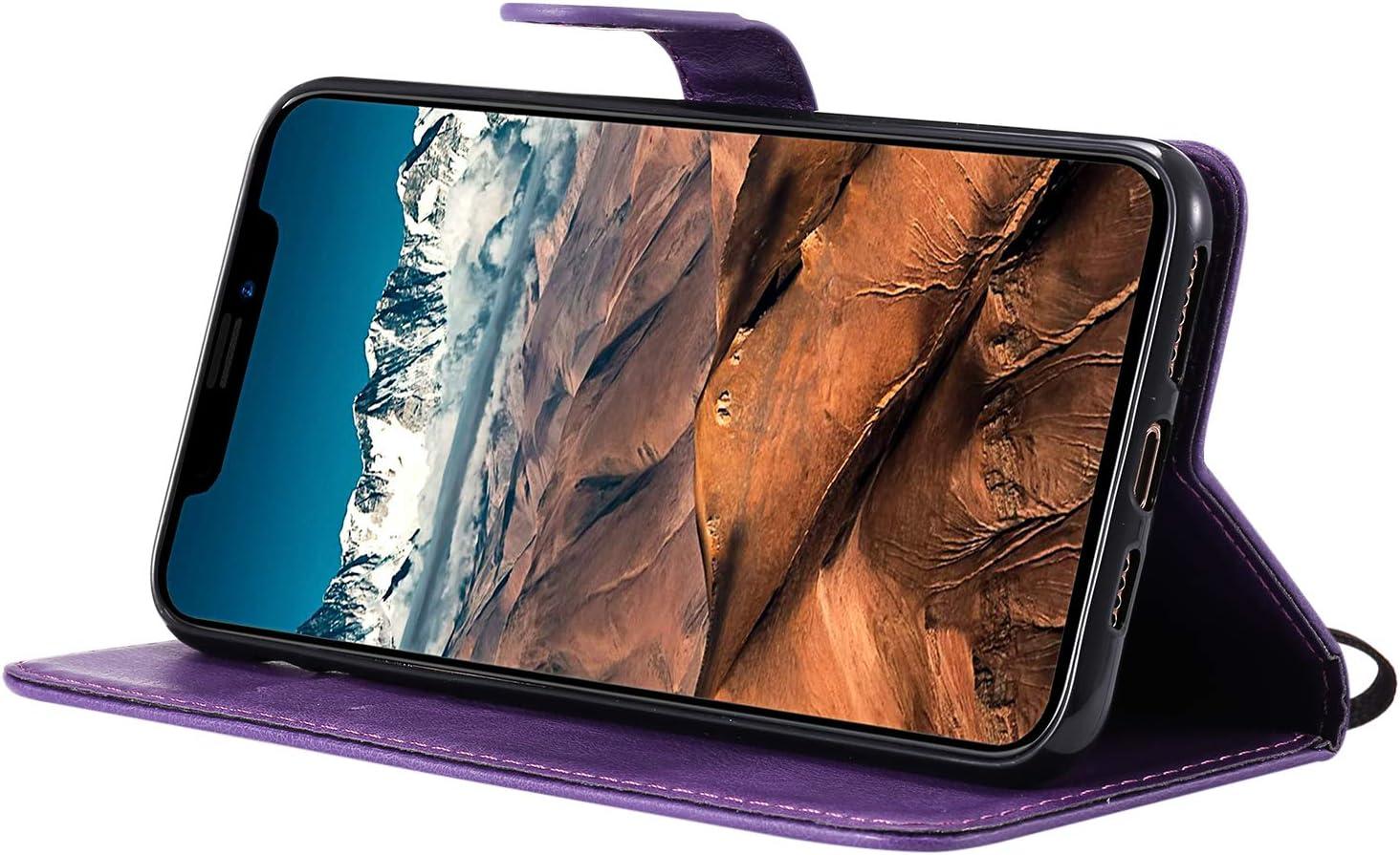 Rouge Fatcatparadise Coque Compatible iPhone 11 PU Cuir Flip Housse /Étui Rabat Cover Case Wallet Portefeuille Support avec Porte-Cartes Pochettes Case 6,1 Pouces avec Verre Tremp/é