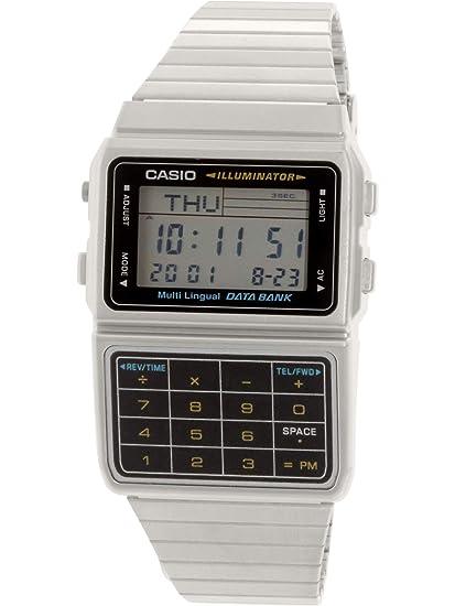 a38e652a4016 Casio Men  s tono plateado 25 memoria calculadora Databank reloj ...
