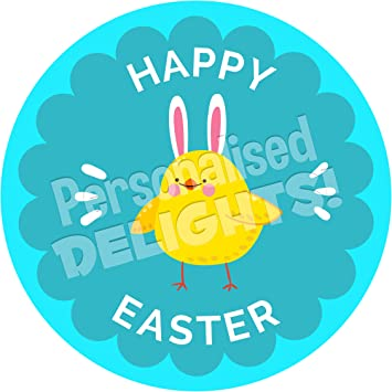 Happy easter bunny sticker labels 6 stickers 95cm each non happy easter bunny sticker labels 6 stickers 95cm each non personalised seals negle Image collections