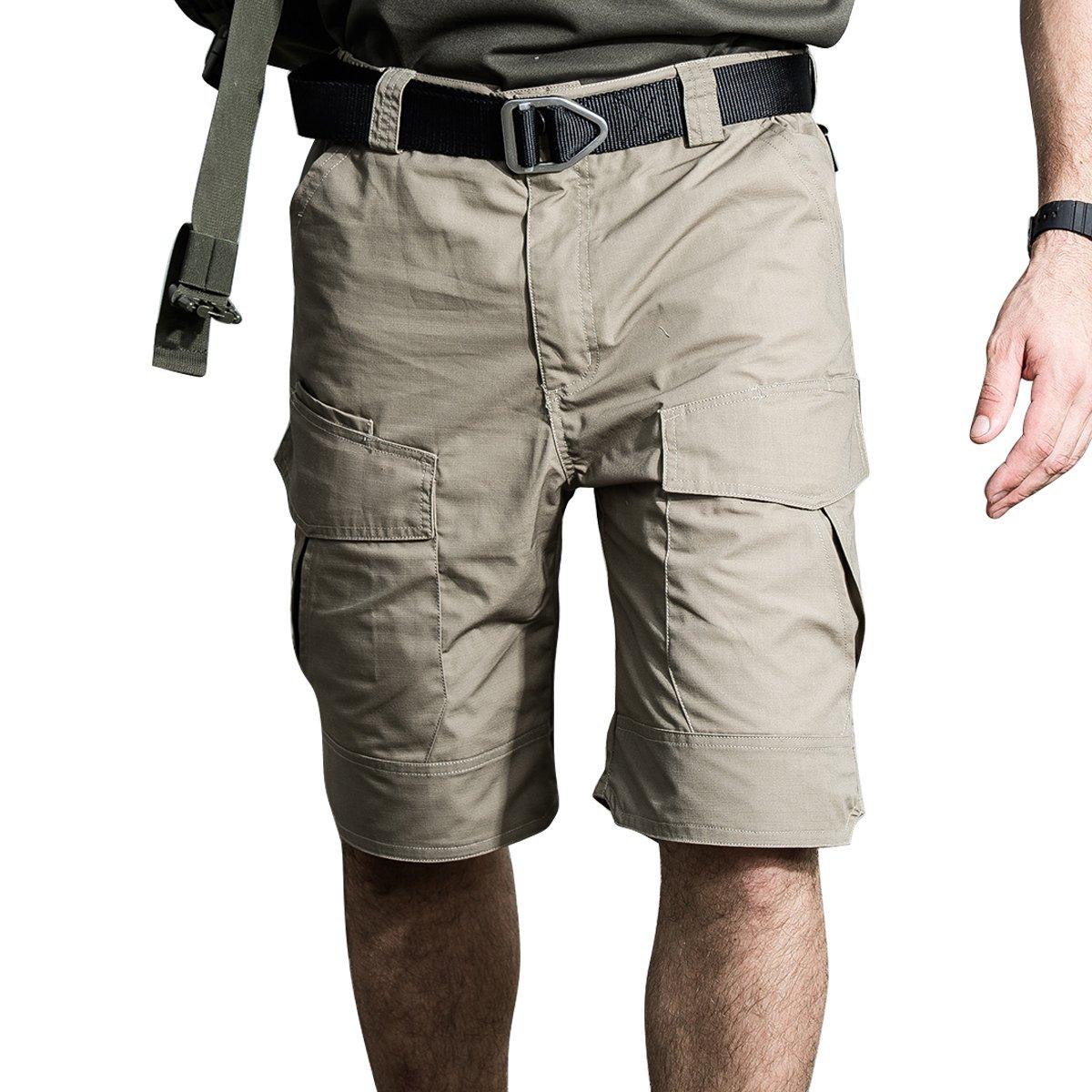 Men's Cargo Shorts Casual Ranch Work Hiking Military Army Tactical Slim Loose Fit Elastic Waistline Waterproof Multi Pocket Mechanic (Khaki, XXXL)