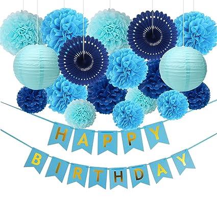 amazon com blue birthday party decorations happy birthday banner