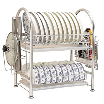 Estructura De Acero De Cocina 2 Capas/Escurreplatos/Escurreplatos/Estante De Almacenamiento/