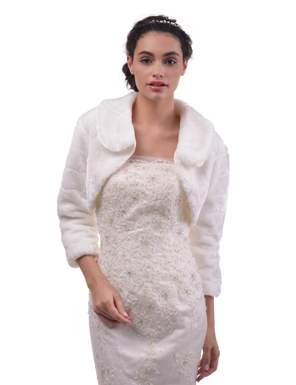 Remedios Ivory Long Sleeves Faux Fur Bridal Wrap Wedding Party Dress Bolero Jacket, M